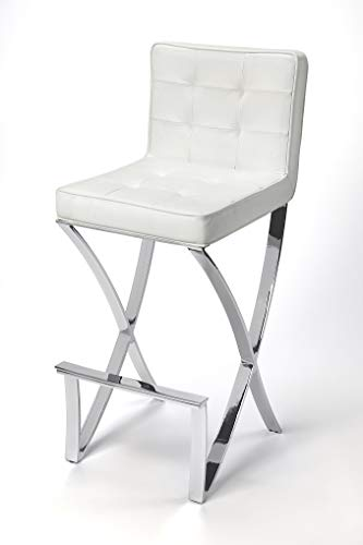 BUTLER DARCY CHROME PLATED FAUX LEATHER BAR STOOL