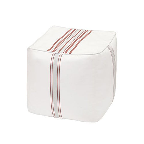 "Printed Stripe 3M Scotchgard Outdoor Square Pouf1 Pouf:18x18x18""CoralMP31-2891"
