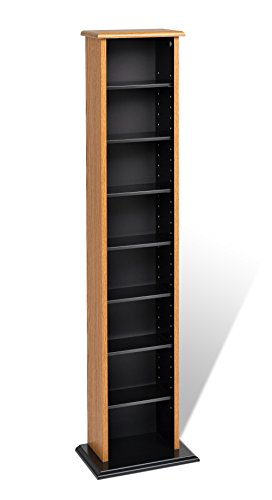 Slim Multimedia Storage Tower, Oak & Black