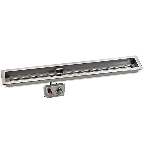 48 x 6 Stainless Steel Linear Drop-in Fire Pit Pan With Electric Ignition System kit` CSA Certified