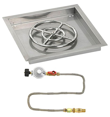 18 Square Stainless Steel Drop-In Pan with Match Light Kit (12 Fire Pit Ring) Propane