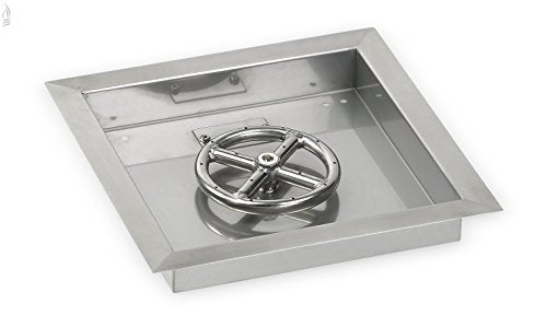 18 Square Stainless Steel Drop-In Fire Pit Pan (1/2 Nipple) w/ 12 Fire Ring Burner
