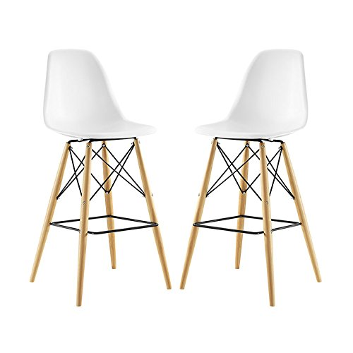 Pyramid Dining Side Bar Stool Set of 2 - White