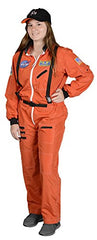 Adult Astronaut Suit, w/Embroidered Cap, size Adult Large (Orange)