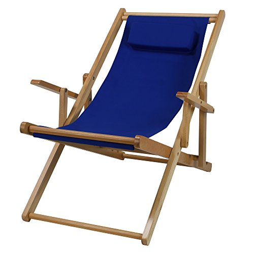 Sling Chair Natural Frame-Royal Blue Canvas