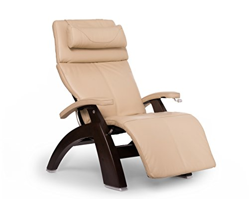 Perfect Chair PC-420 Premium Full Grain Leather Hand-Crafted Zero-Gravity Dark Walnut Manual Recliner` Ivory