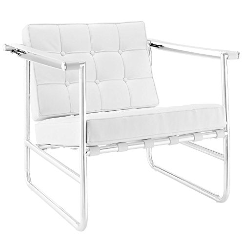 Serene Stainless Steel Upholstered Vinyl Lounge Chair