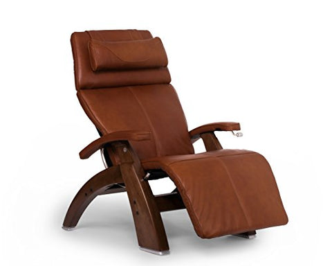 Human Touch Perfect Chair PC-420 Premium Full Grain Leather Hand-Crafted Zero-Gravity Walnut Manual Recliner` Cognac