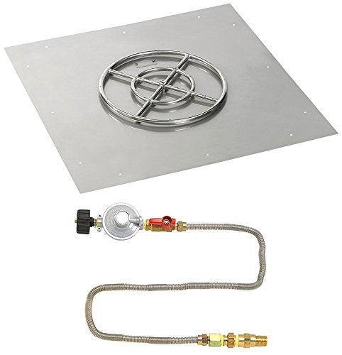 36 Square Stainless Steel Flat Pan with Match Light Kit (18 Ring) - Propane