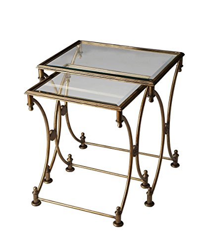 BUTLER BEVERLY ANTIQUE GOLD NESTING TABLES