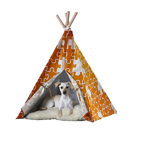 Pet Teepee, Orange Puzzle, Medium