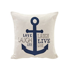 White Nautical Anchor Cotton Jacquard Printed Decorative Toss Throw Accent Pillow by Danya B.