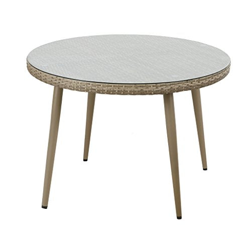 "Outdoor Round Table1 Outdoor Round Table:Dia 42.5"" x 29""H Table Top:Dia.42.5"" x 2.15""T Glass:Dia.42"" x 0.2""T Leg Size(Top):Dia.2"" Leg Size(Bottom):Dia.0.98"" Leg Height:26.84"" Distance Between Legs:29.75"" Maximum Weight Capacity:100 LbsLight GreyII146-0160"