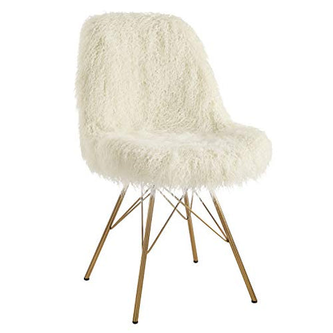 Remy Flokati Chair with Gold Metal Base