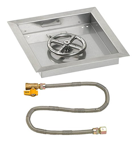 12 Square Stainless Steel Drop-In Pan with Match Light Kit (6 Fire Pit Ring) Natural Gas