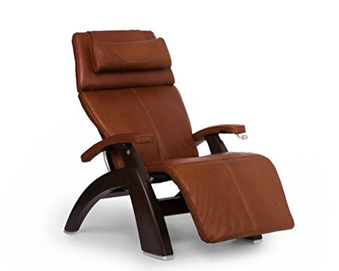 Perfect Chair PC-420 Premium Full Grain Leather Hand-Crafted Zero-Gravity Dark Walnut Manual Recliner` Cognac