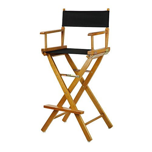 "30"" Director's Chair Honey Oak Frame-Black Canvas"