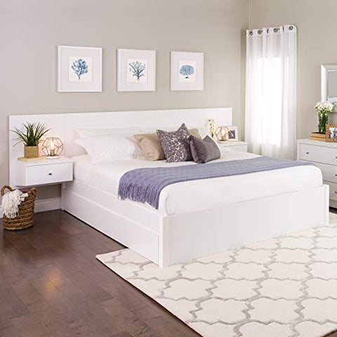 Floating King Headboard with Nightstands` White