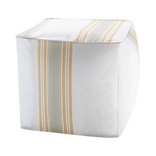 "Printed Stripe 3M Scotchgard Outdoor Square Pouf1 Pouf:18x18x18""YellowMP31-3893"