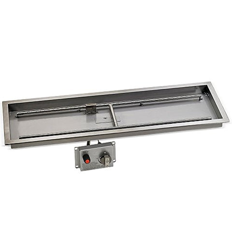 48 x 14 Stainless Steel Rectangular Drop-in Fire Pit Pan With Electric Ignition System kit` CSA Certifieded
