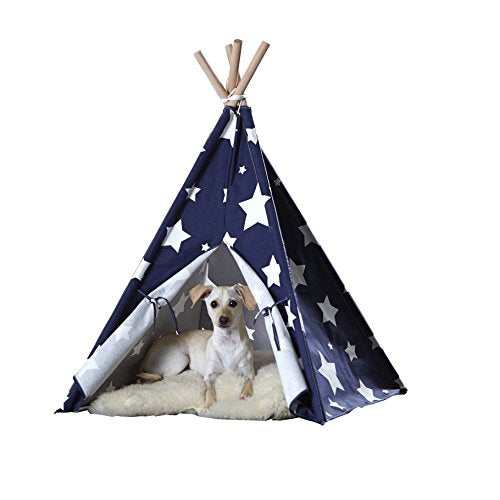 Pet Teepee` Blue with White Stars` Large