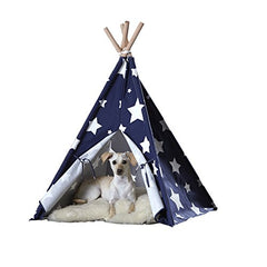 Pet Teepee, Blue with White Stars, Medium