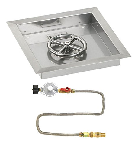 12 Square Stainless Steel Drop-In Pan with Match Light Kit (6 Fire Pit Ring) Propane
