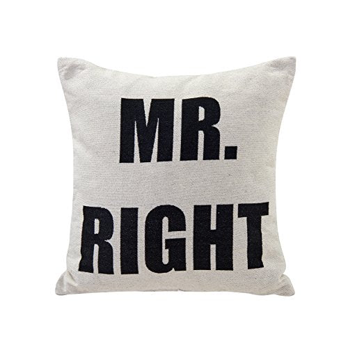 Mr. Right White Cotton Jacquard Printed Decorative Toss Throw Accent Pillow by Danya B.