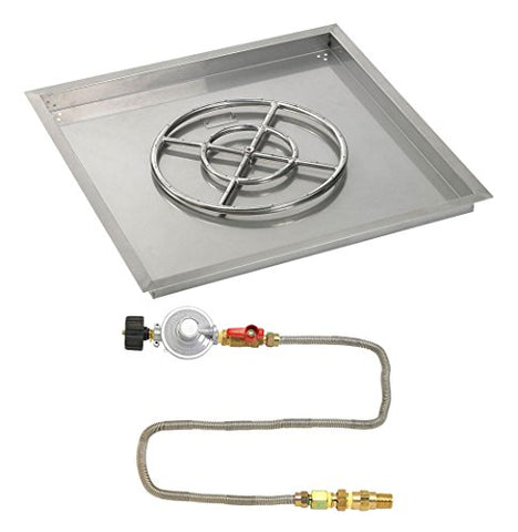 30 Square Stainless Steel Drop-In Pan with Match Light Kit (18 Fire Pit Ring) Propane