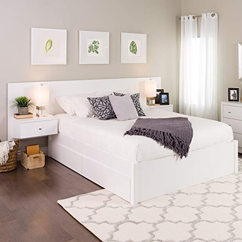 Floating Queen Headboard with Nightstands, White