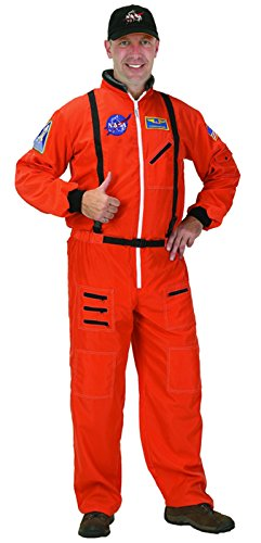 Adult Astronaut Suit, w/Embroidered Cap, size Adult Small (Orange)