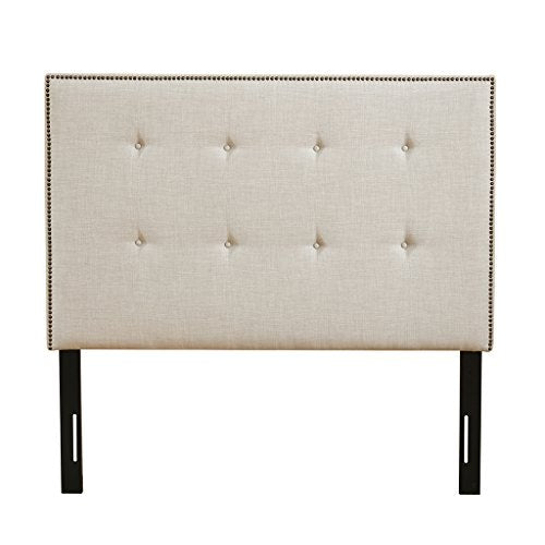 "Upholstery Headboard1 Overall Size:63.75""W x 3.50""D x 60""H to 66.50""HHeadboard:63.75""W x 39""H x 3.50""THorizontal Distance Between Predrilled Holes:57.5""Height of Predrilled Holes from Floor:39"" to 45""Beige MultiMP116-0365"