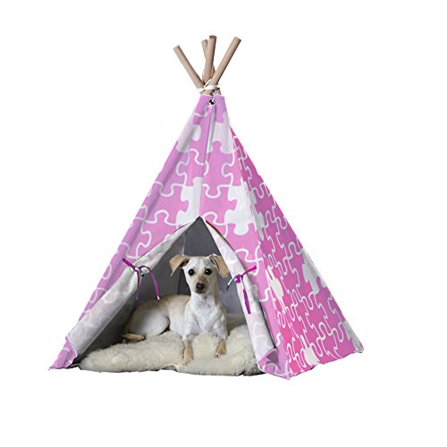 Pet Teepee` Pink Puzzle` Large