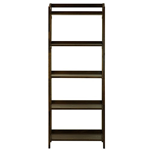 Stratford 5-Shelf Folding Bookcase-Warm Brown