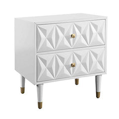 Two Drawer Geo Texture Nightstand White