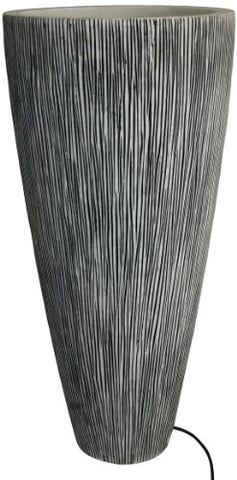 SANDSTONE RIBBED FINISH` LONG CONICAL PLANTER WITH LIGHT..18 X 39