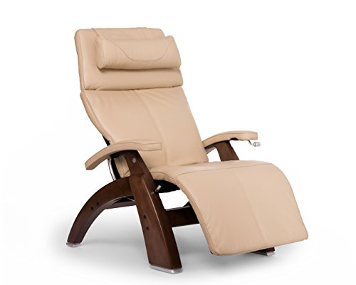 Human Touch Perfect Chair PC-420 Premium Full Grain Leather Hand-Crafted Zero-Gravity Walnut Manual Recliner` Ivory