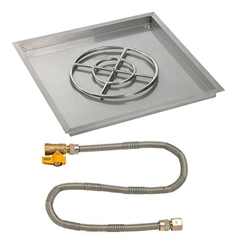 30 Square Stainless Steel Drop-In Pan with Match Light Kit (18 Fire Pit Ring) Natural Gas