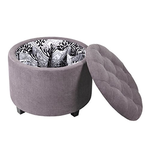 Round Ottoman with Shoe Holder InsertWeight Capacity::200lbs1 Ottoman:24Wx24Dx18HGreyFPF18-0210