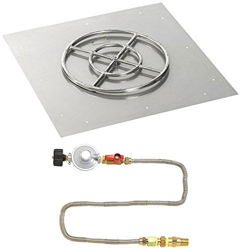 30 Square Stainless Steel Flat Pan with Match Light Kit (18 Ring) - Propane
