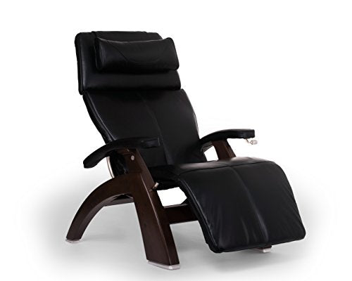 Perfect Chair PC-420 Premium Full Grain Leather Hand-Crafted Zero-Gravity Dark Walnut Manual Recliner` Black