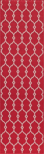 "Momeni Rugs BAJA0BAJ-2RED2376, Baja Collection Contemporary Indoor & Outdoor Area Rug, Easy to Clean, UV protected & Fade Resistant, 2'3"" x 7'6"" Runner, Red"