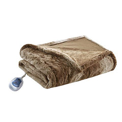 "Oversized Faux Fur Heated Throw1 Throw:50""W x 70""LTanBR54-0854"