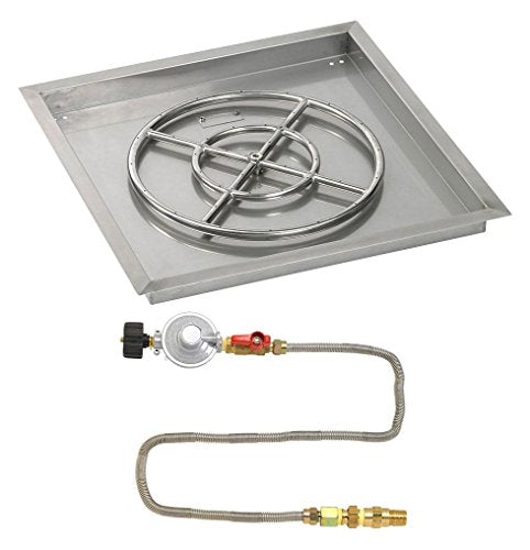 24 Square Stainless Steel Drop-In Pan with Match Light Kit (18 Fire Pit Ring) Propane