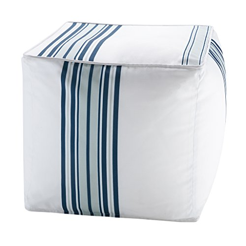 "Printed Stripe 3M Scotchgard Outdoor Square Pouf1 Pouf:18x18x18""NavyMP31-3888"