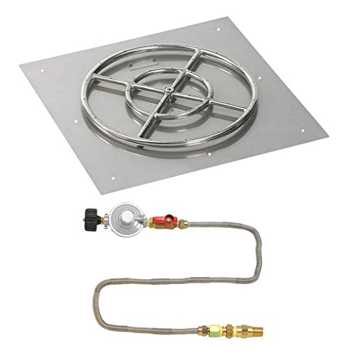 24 Square Stainless Steel Flat Pan with Match Light Kit (18 Ring) - Propane