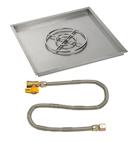 36 Square Stainless Steel Drop-In Pan with Match Light Kit (18 Fire Pit Ring) Natural Gas