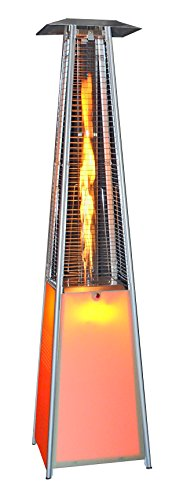 SUNHEAT 12 Color LED Light Show Contemporary Square Design Portable Propane Patio Heater with Decorative Variable Flame