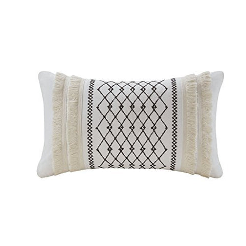 Embroidered Cotton Oblong Pillow with Tassels1 Decorative Pillow:12W x 20LIvoryII30-998