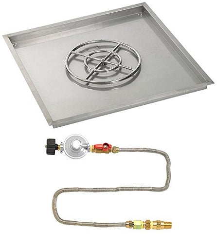 36 Square Stainless Steel Drop-In Pan with Match Light Kit (18 Fire Pit Ring) Propane